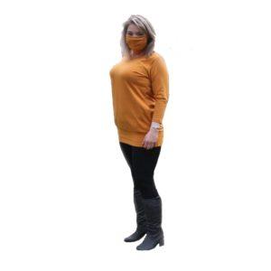 Tunika s dlouhým rukávem s kapsami – okrová