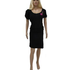 Šaty s háčkovanou aplikací černé